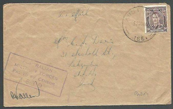 NEW GUINEA 1944 Australia 3d on cover AUST FPO 166 used at Madang..........60459