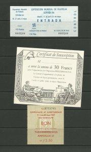 3 Old Stamp Fair Ticket Stubs Espana 84/ PhilexFrance89/ Amphilex 67