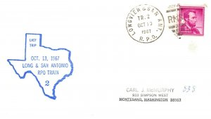 1967 Longview & San Ant.  R.P.O.Railroad+Texas Last Trip Cachet #112