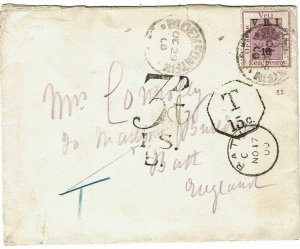 Orange Free State 1900 Bloemfontein OCT 29 cancel on cover to England, due mark