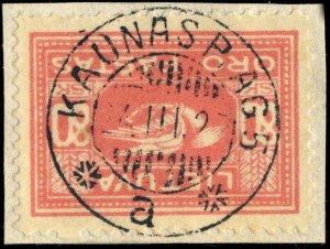 LITUANIE / LITHUANIA - 1927 - KAUNAS P. AG. 5 / a  cds on Mi.105X on piece