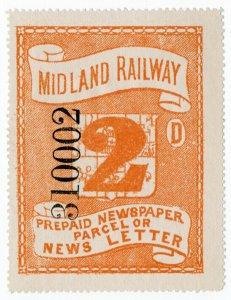 (I.B) Midland Railway : Prepaid Newspaper Parcel 2d (large format)