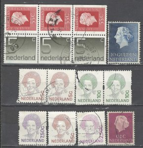 COLLECTION LOT # 3959 NETHERLANDS 9 STAMPS + 1 BOOKLET PANE 1953+ CV+$12