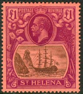 ST HELENA-1922-37 £1 Grey & Purple/Red.  An unmounted mint example Sg 96