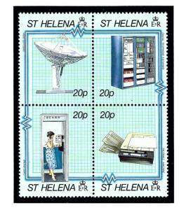 St Helena 534 MNH 1990 Telecommunications Block of 4