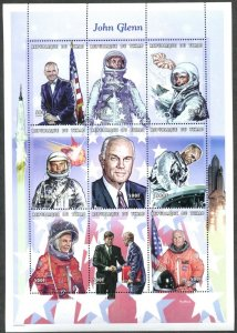 CHAD Sc#796 1999 John Glenn Astronaut Space Mini-Sheet of 9 OG MNH