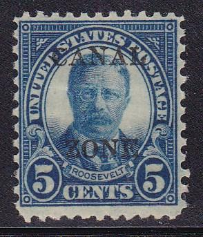 Canal Zone 1927 5c drk blue Roosevelt  Overprint Type-B F/VF/Mint Nr.103