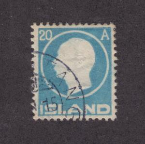 Iceland Sc 94 used 1912 20a pale blue Frederick VIII, embossed center