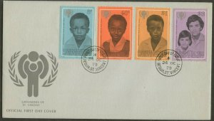 ST. VINCENT GRENADINES FDC Sc#176-79 1979 ICY Complete Set Cacheted UA