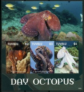Tuvalu 2019 MNH Day Octopus 3v M/S I Corals Molluscs Marine Animals Stamps