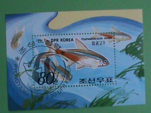 KOREA STAMP 1991 HYPHESSOBRYCON INNESI :FISHES  ; CTO- NOT HING  S/S SHEET