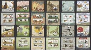 PE431-42 2015 MADAGASCAR WILD ANIMALS BIRDS FISHES DOGS CATS FAUNA 12KB+12BL MNH
