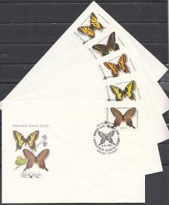 Russia, Scott cat. 5525-5529. Butterflies issue on First day covers.