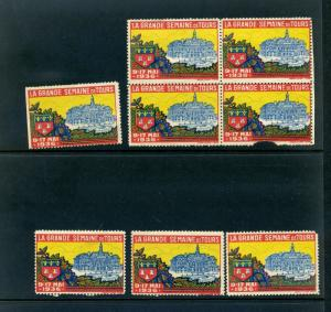 7 VINTAGE 1936 THE GREAT WEEK OF TOURS POSTER STAMPS (L753) FRANCE