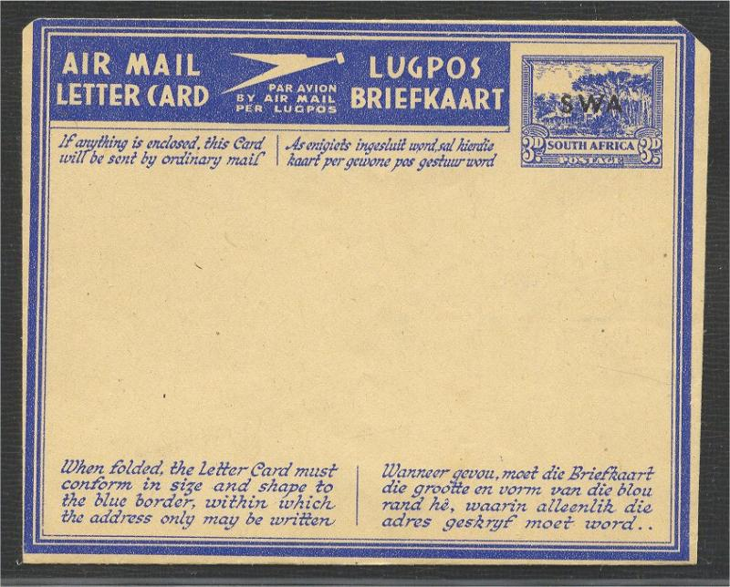 SOUTH WEST AFRICA UNUSED AEROGRAME (OVERPRINT ON SA)