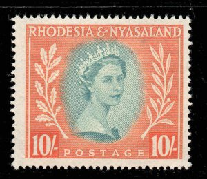 Rhodesia Nyasaland 1954 QEII 10/- SG 14 mint