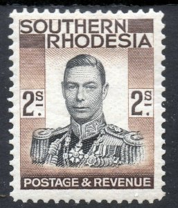 SOUTHERN RHODESIA King George VI 1937 2s. Black & Brown SG 50 MINT