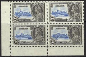GIBRALTAR SG114/a 1935 2d S.JUBILEE EXTRA FLAGSTAFF MNH BLK OF 4 (1xSG114 LMM)