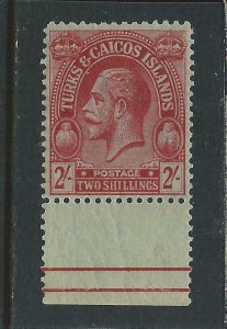 TURKS & CAICOS IS 1922-26 2s RED/EMERALD MARGINAL MNH SG 174 CAT £21