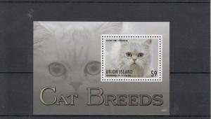 Union Island Grenadines St Vincent 2013 MNH Cat Breeds II 1v S/S Pets Stamps