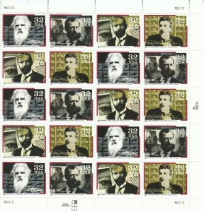 Stamp US Sc 3061-4 Sheet 1996 Pioneers of Communication Muybridge Dickson MNH