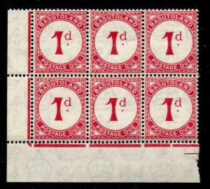 BASUTOLAND SGD1a 1938 1d SCARLET POSTAGE DUE BLOCK OF 6 MINT - 5 MNH