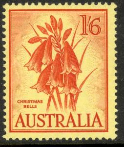 AUSTRALIA 1959-64 1sh6d CHRISTMAS BELLS FLOWER Pictorial Sc 326 MNH