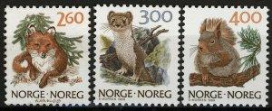 Norway 1989, NK 1058-60, Fauna II set VF MNH, Mi 1009-11