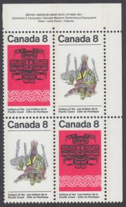 Canada -  #573a Pacific Coast Indians Plate Block  - MNH