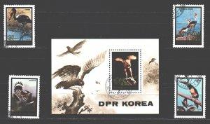 North Korea. 1984. 2517-20, bl189. Birds fauna. USED.
