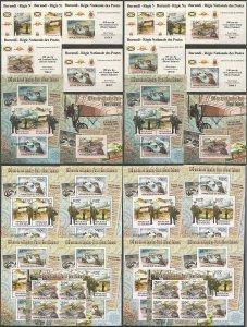 BU145 PERF,IMPERF 2012 BURUNDI LONDON-PARIS POST SALMET 12KB+2BL+10 LUX BL MNH