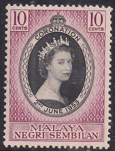 Malaya Negri Sembilan 1953 QE2 10ct Coronation MM SG 67 ( R1184 )