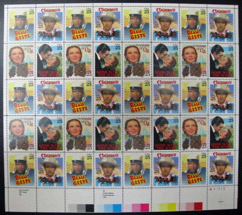 US #2445-2448 Classic Films Sheet of 40; MNH (60.00)