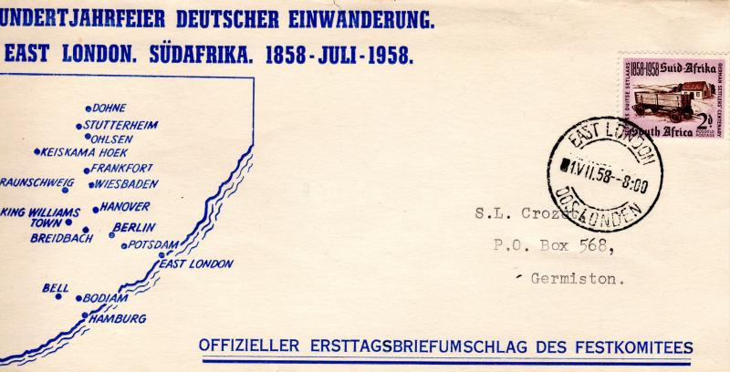 South Africa 1958 German Settlers' Centenary Cover Postal History