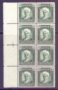 Aden Mukalla Scott 1 - SG1, 1942 Sultan 1/2a Block of 8 MNH**