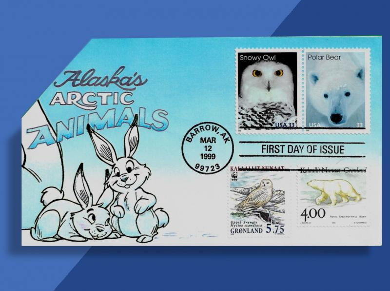 Brrrrrr! Snowy Owl and Polar Bear Chill Out on FDC Shared w/ Greenland Cousins!