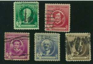 US 1940 Famous Americans: Artists, Scott 884-888 used, Value = $2.25