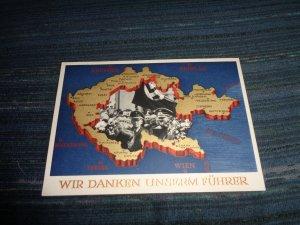 GERMANY WWII PROPAGANDA POSTAL CARD:  WIR DANKEN UNSERM FUHRER