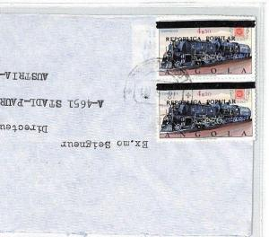 BU54 1980 Angola *REPUBLICA POPULAR* Overprint 4e50 RAILWAY ENGINE Cover TRAINS