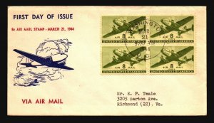 US SC# C25 FDC / Block of 4 / Cacheted / Typed Address - Z18345