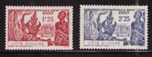 Ivory Coast Scott 163-164 MH* NY World's Fair Issue set 1939