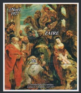 Zaire 861,MNH.Michel 547 Bl.16. Christmas 1977.Adoration of the Kings,by Rubens.