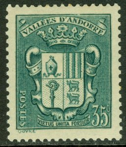 EDW1949SELL : FRENCH ANDORRA 1938 Sc #73 Key value. Very Fine, Mint OG. Cat $65.