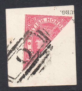 British Honduras 1888 QV 2c bisected on piece SG 27c used (different shaped 2)