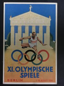 1936 Germany Berlin Olympics Commemorative Postcard Cover Athlete