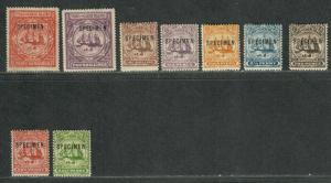 Turks+Caicos S.G.#101-109 M/NH/VF, Specimen Ovpt, Cv. $300