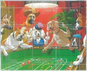 1965 - TURKMENISTAN, 1999 MINIATURE SHEET: Dogs, Cassius M. Coolidge (?), Art