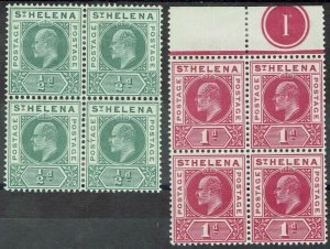 ST HELENA 1902 KEVII 1/2D AND 1D BLOCKS */**