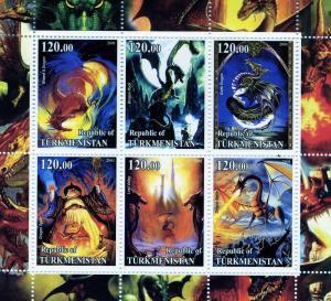 Turkmenistan 2001 Dinosaurs Sheet (6) Perforated mnh.vf