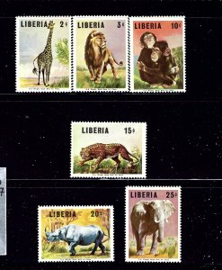 Liberia 451-52/454-57 MNH 1966 Wild Animals  part set
